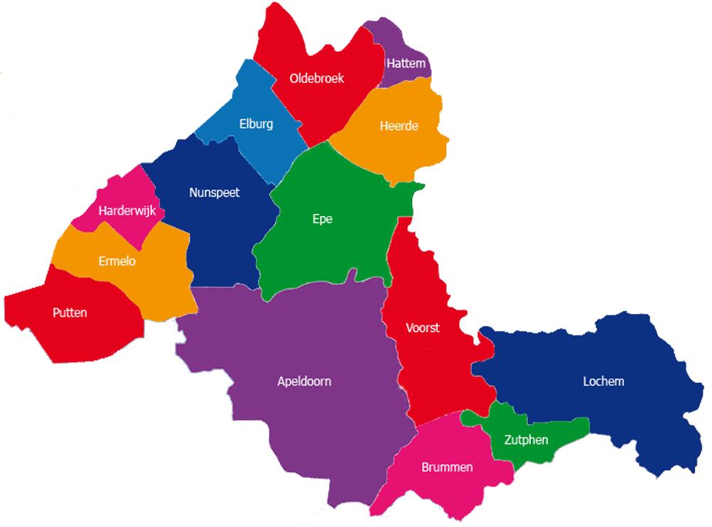 provincie kaartje Zorgcollectief Noord Oost Veluwe